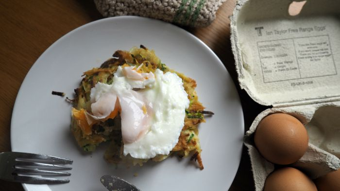 Potato and Courgette Rosti with Poached Egg