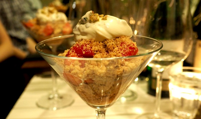 Strawberry and Pistachio Crumble with Basil Cream