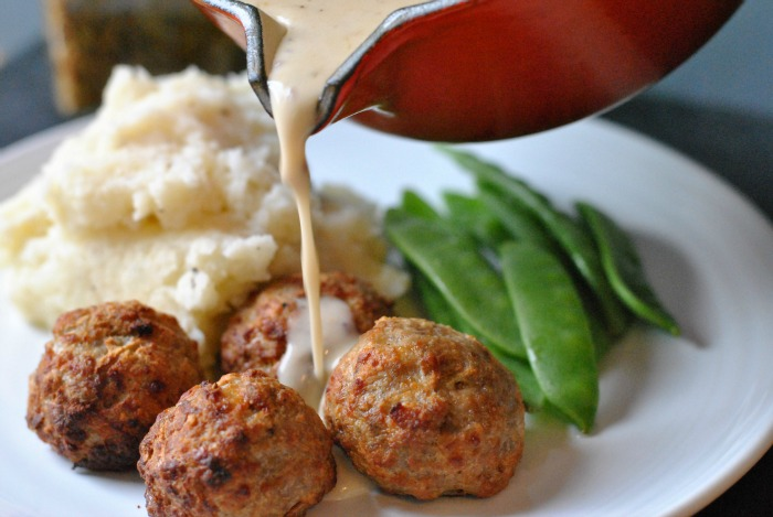 Pork, Apple and Cheddar Meatballs in Creamy Mustard Sauce // Amy Elizabeth