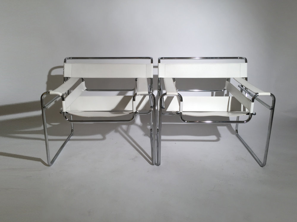 Pair Of Leather And Chrome Wassily Style Chairs