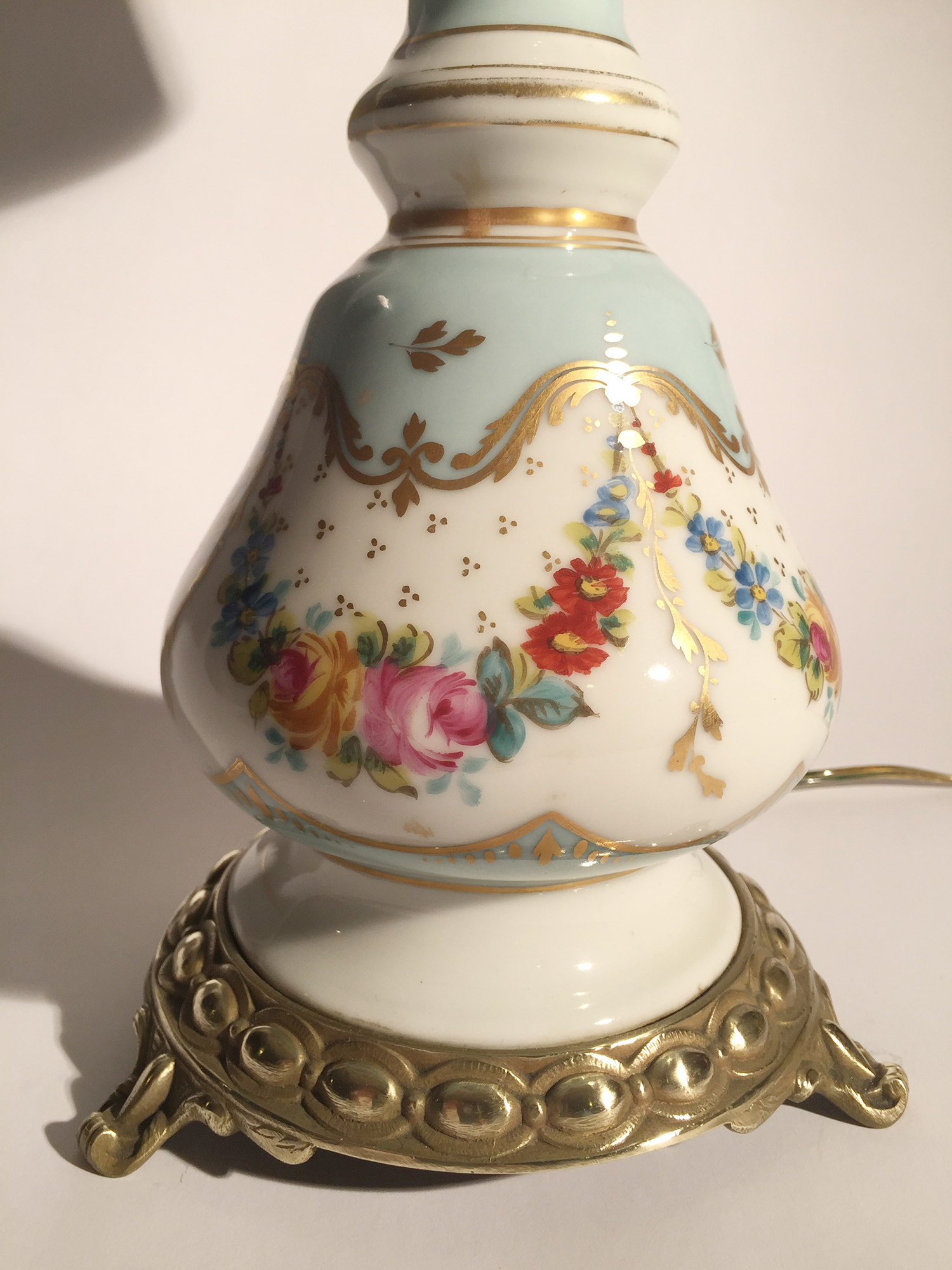 Pair Porcelain Hand Painted Lamps