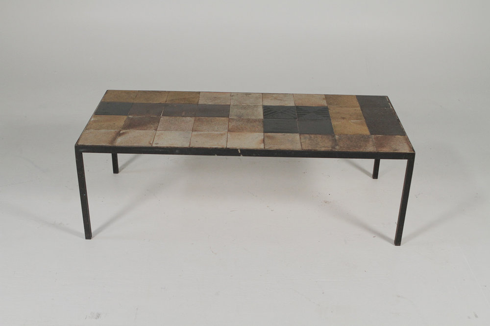 Mid Century Iron And Tile Coffee Table