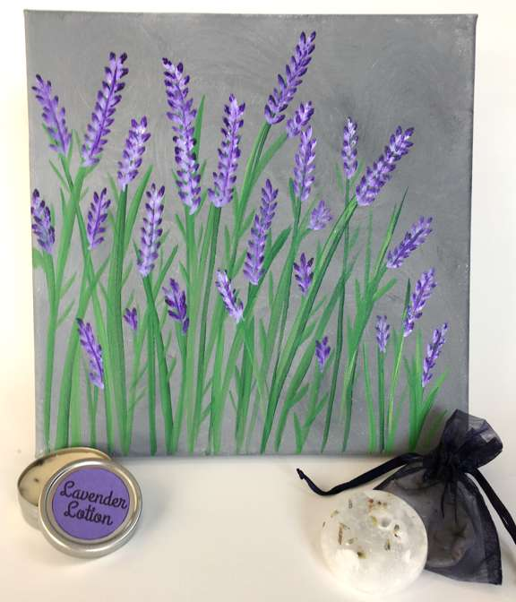 LAVENDER PAINTING & AROMA THERAPY WORKSHOP - In this workshop, we will discuss the lavender fields of France as we paint this simple, no-fail painting. During the painting, we will have a presentation on aromatherapy while making lavender lotion and sachets. Each participant will leave with a tin of lavender lotion, three sachets, their own 12x12 painting of lavender along with some knowledge of aromatherapy and relaxation techniques.