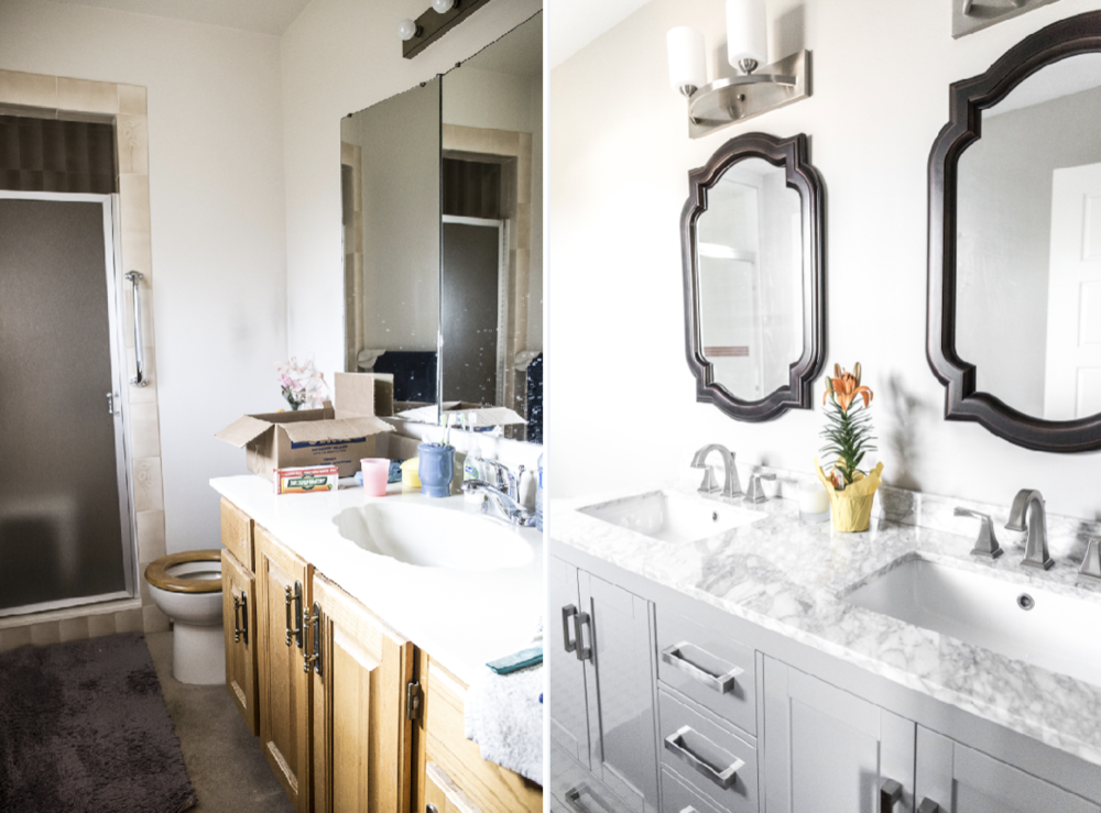 Before and after shots of the revamped ensuite