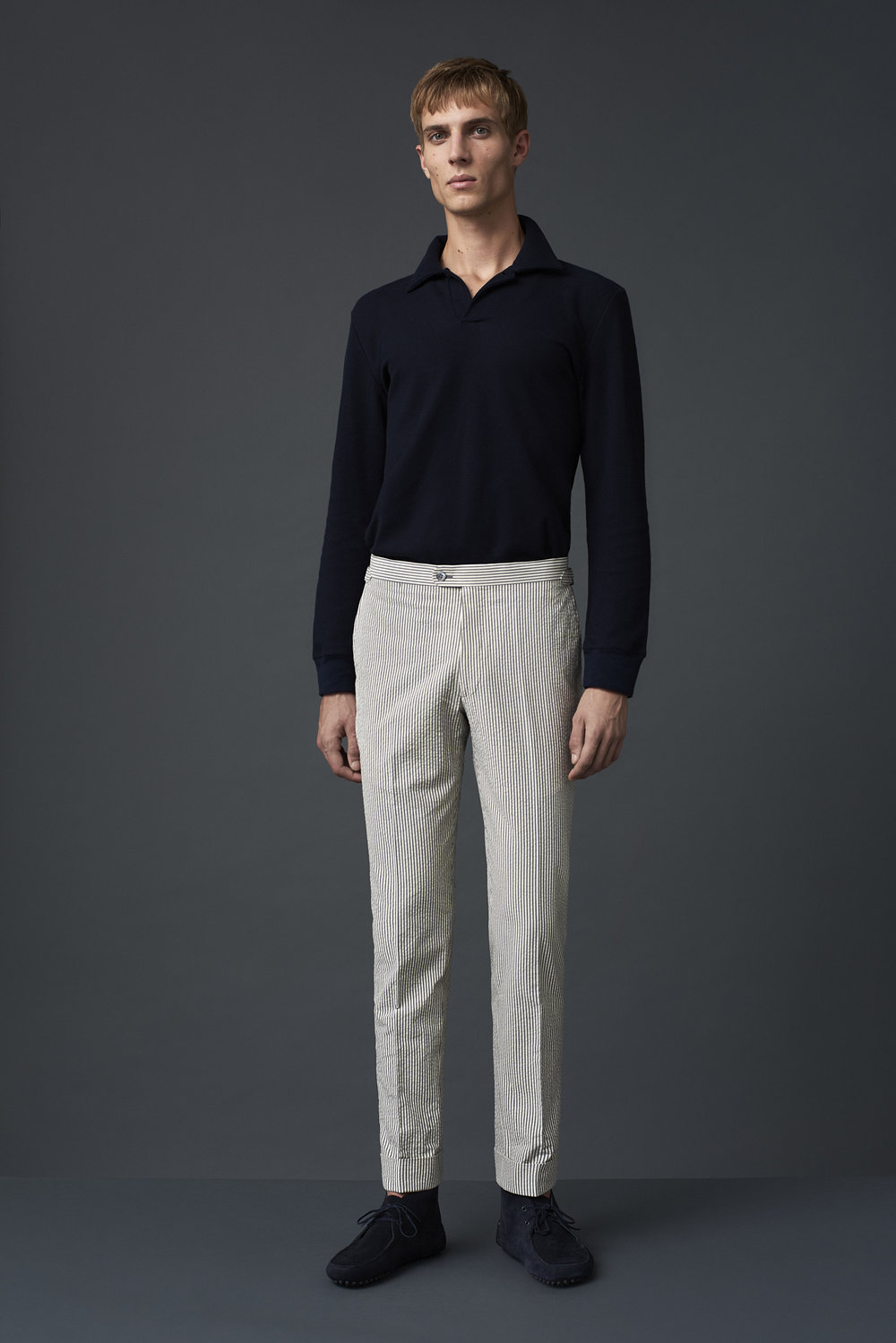 P Johnson worsted cotton polo shirt, worn with seersucker cotton trousers woven in Italy.