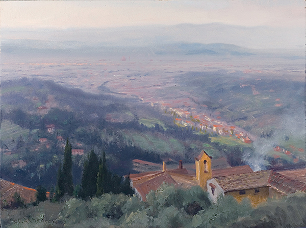 Vista from San Miniato, Florence , 11 x 14 oil on panel