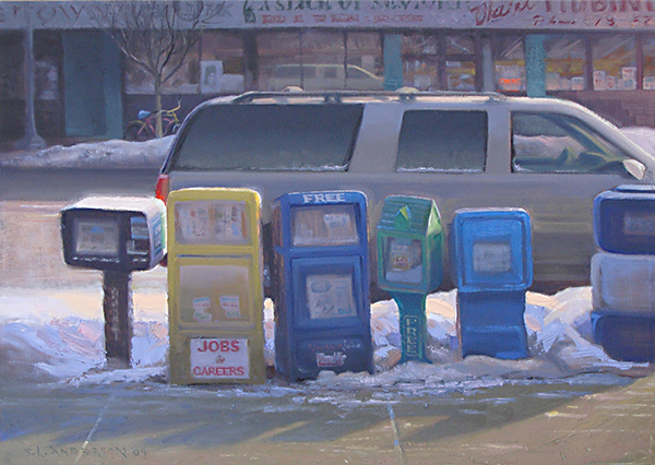 Jobs & Career, Free , 18 x 24  oil on canvas The plastic newspaper receptacles on the corner seem like little toys.
