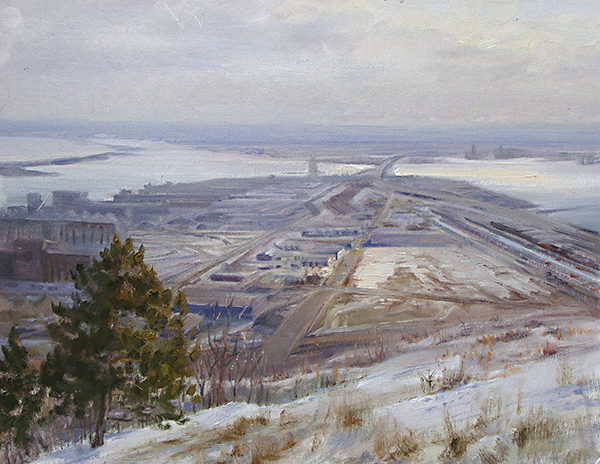 Winter Morning at Duluth Harbor , 18 x 24 oil on canvasboard Duluth's harbor industries lend a distinctive, rusty romanticism to the landscape.