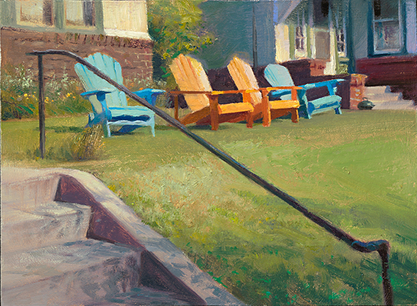 Orange and Blue Chairs , 12 x 16 oil on panel I like to ride my bike around the neighborhood, pulling my gear in a little trailer. Vignettes like this are evocative to me for some reason, so I stop and paint them.
