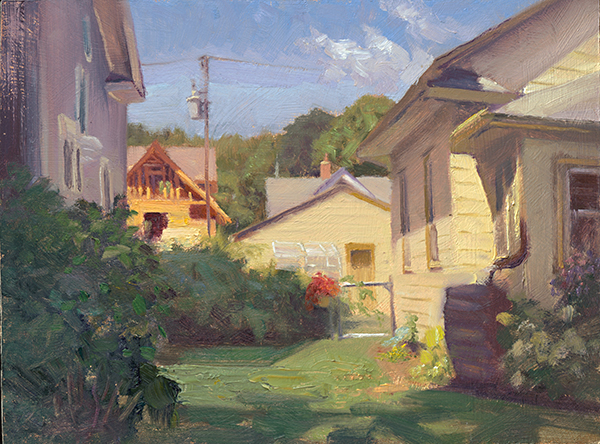 The Neighbor's Addition , 12 x 16 oil on panel Another look in between houses in my neighborhood.