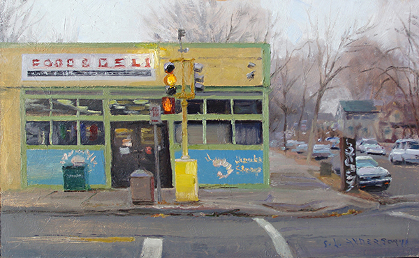 Food & Deli , 12 x 20 oil on panel On cloudy days I gravitate toward things with bright color. Thank goodness for immigrant convenience store owners.
