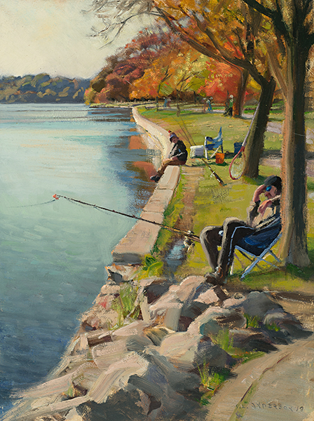 Fall Fishing at Lake Harriet , 24 x 18 oil on canvas