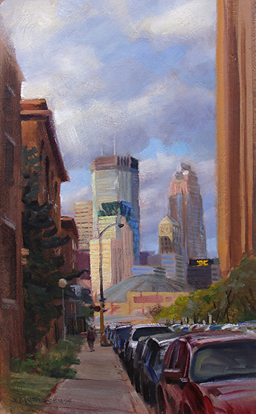 Afternoon Light on the Minneapolis Skyline , 20 x 12 oil on panel I'm always looking for interesting views of downtown. I try to avoid the ones that are photographed a lot. Here, on 3rd Avenue South, the buildings and cars nicely frame the high-rises in the heart of downtown.