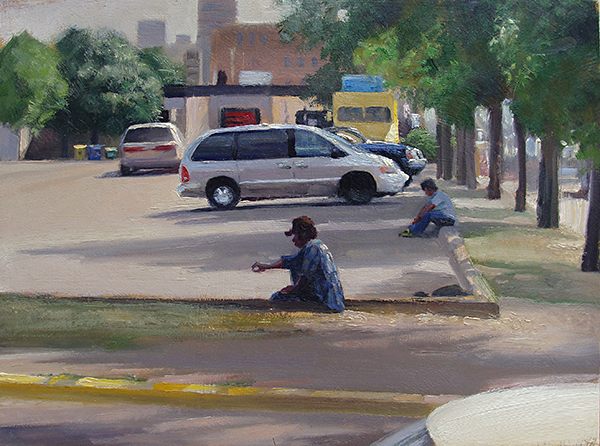 A Spot in the Shade , 12 x 16 oil on panel Men hang out in the parking lot at the K-Mart at Lake & Nicollet in Minneapolis. I think a day-labor truck picks up here.