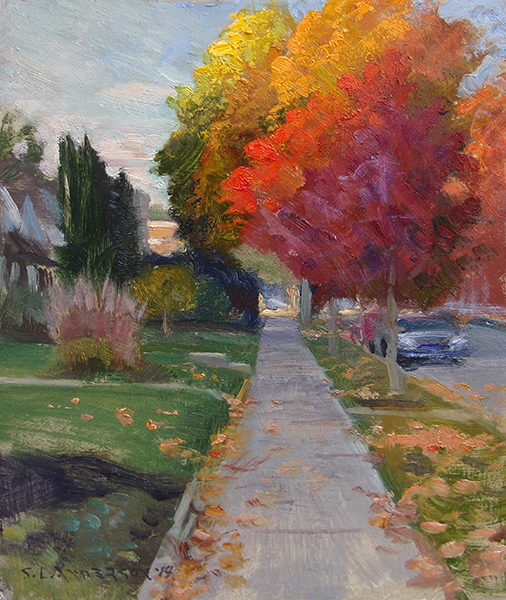 Last Light on the Sidewalk , 8 x 10 oil on panel Late in the day the sun moves so quickly, it's fun to try to paint the moment when it's only hitting the tops of the trees. Especially when the leaves are this colorful.
