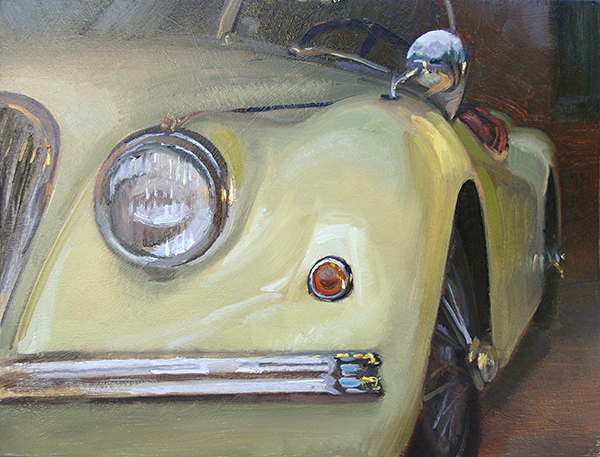 1954 Jaguar , 12 x 16 oil on panel Jaguar has always been known for it's design. The curves on the models from this era always get me.