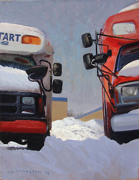Between the Buses,  18 x 14 oil on panel