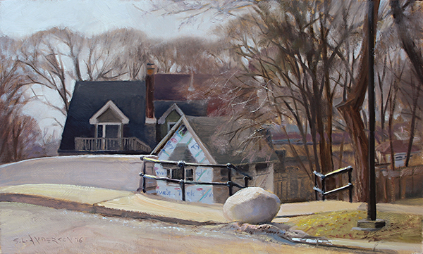 Mystery Rock Near Linden Hills Bridge , 12 x 20 oil on panel Weird I know, but that rock demanded that I paint it.