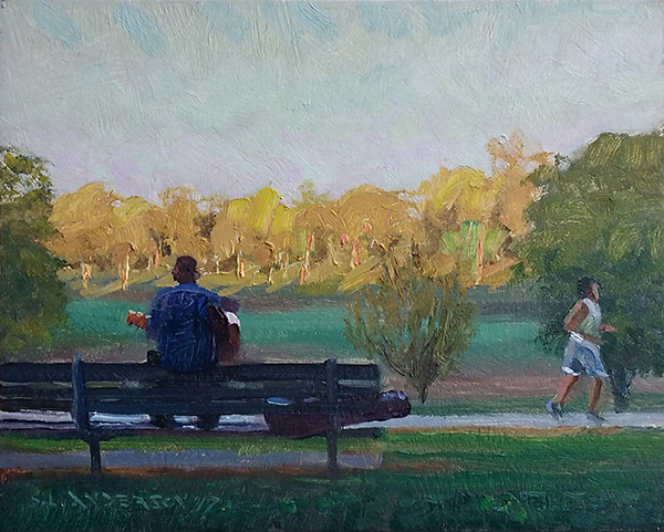 Guitarist in the Park,  8 x 10 oil on panel