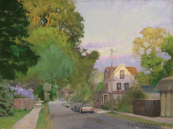 Last Light on 39th Street , 12 x 16 oil on panel I love when the sun is setting and it just grazes the top of this house down the block.