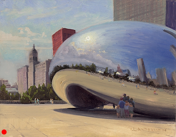 The Bean, Millenium Park, Chicago , 11 x 14 oil on panel SOLD