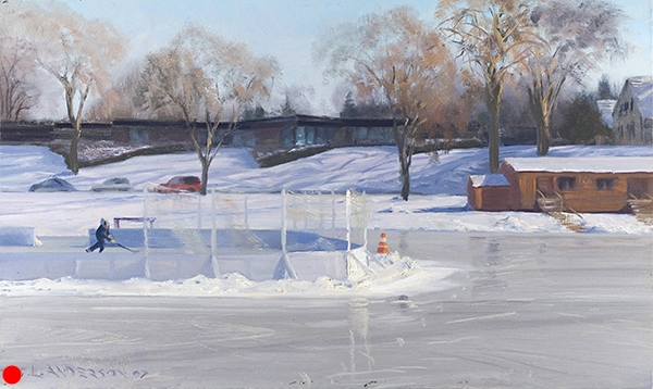 Skating at Lake of the Isles , 12 x 20 oil on panel SOLD