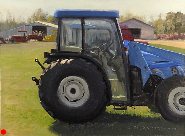 New Arrival at the Implement Dealer , 12 x 16 oil on panel This was painted in Aitkin, Minnesota during the Jaques Art Center plein air event, July 2007. As a painter in the gray, green upper midwest, using bright colors like this feels like a party. SOLD