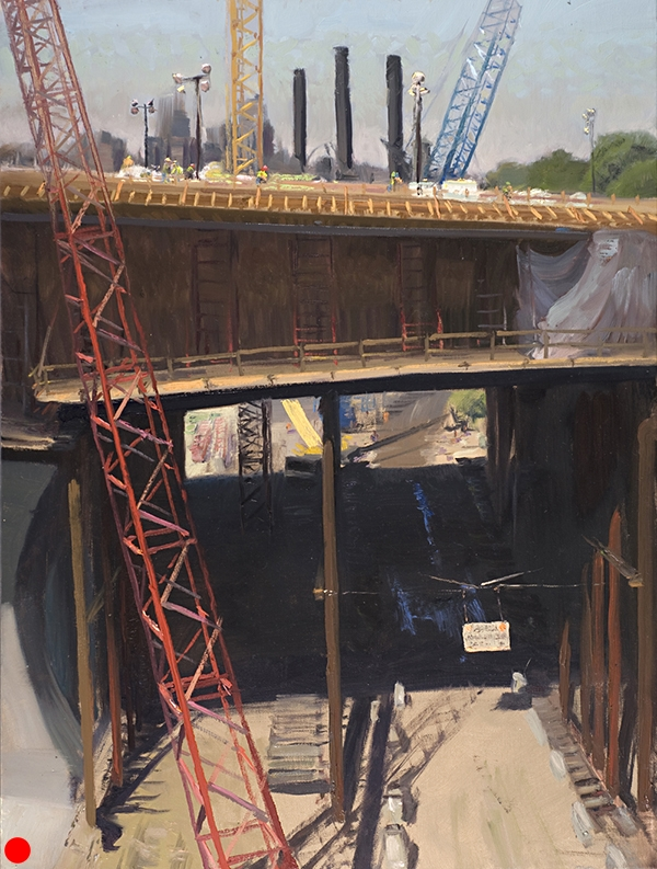 Red Crane, Yellow Crane, Blue Crane , 18 x 24  oil on canvas. Painted in mid-morning during the reconstruction of the I-35W bridge over the Mississippi. I loved the air in the shadow under the span and how the watery tire ruts in the hard, dirt road reflect the sky, and the sunlit sign hanging on the cable provides a nice accent. A beautiful arrangement. And I didn't move a thing. SOLD