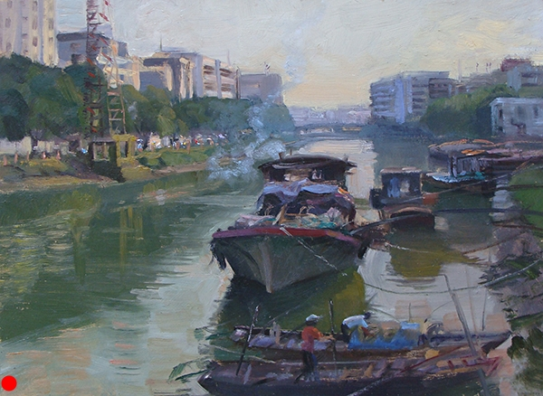 Working Boats on the Tanjiang River , 12 x 16 oil on panel These boats are parked along the river in Kaiping. The smaller ones in the foreground came in and out throughout the afternoon, doing their business. Wherever I stood to paint, there was always a steady stream of cars, bikes, scooters, and funky motorbike trucks whizzing around, honking as they passed the little crowd around my easel. SOLD