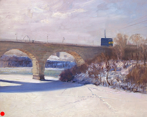 Stone Arch Bridge and the Guthrie Theater , 16 x 20 oil on panel This beautiful, former railroad bridge spans the Mississippi, just below the Falls of St. Anthony in Minneapolis. Once the flour milling capital of the world, the city and its mills were built on the hydropower of the falls. The restored bridge is now a bike and pedestrian route. SOLD