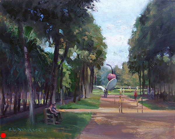 Sculpture Garden Path (Spoonbridge and Cherry) , 20 x 16 oil on panel At the Minneapolis Sculpture Garden I sometimes feel like I'm strolling in Paris. Sort of.