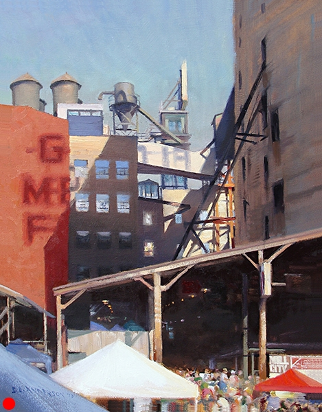 Mill City Farmers Market , 24 x 18 oil on canvas Painted for the market's annual fundraising auction. This historic part of the Minneapolis riverfront has been called the Mill District since the days when the city was the flour milling capital of the world.