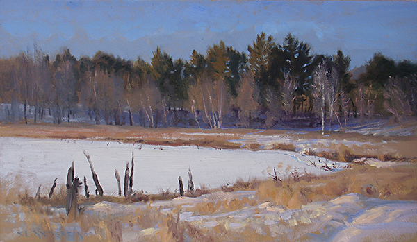 Snowy Elmo Park Wetland , 12 x 20 oil on panel Here's a nice example of the lovely color available outdoors for a landscape painter. And you can see them so much better if you get out from behind a camera and stare at it for two-and-a-half hours (ok, maybe three-and-a-half).
