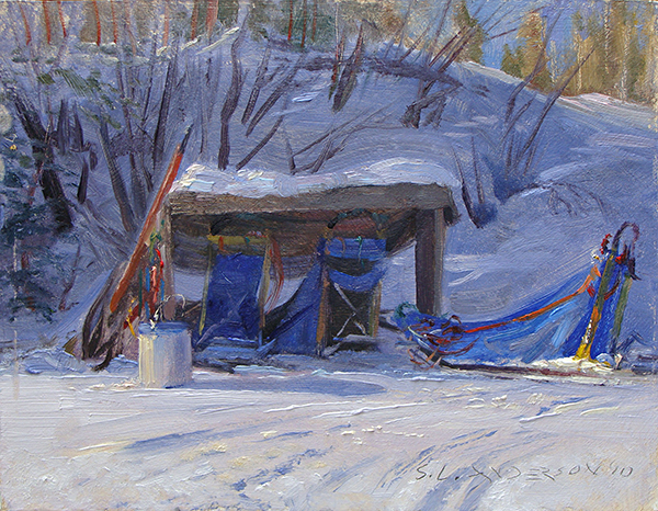 Dogsled Shed , 8 x 10 oil panel