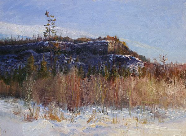 Cliffs Above Gunflint Lake , 12 x 16 oil on panel One of the things I look for are contrasts in not only the color and shape of things, but their texture too. Here there's a such a tactile difference between the reedy softness of the thicket in the foreground, and the rocky cliffs in the background. It's some of the oldest exposed rock in the hemisphere says some geologist dude up there, but who believes him, he's a scientist.