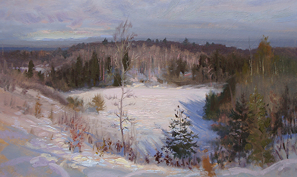Frozen Pond , 12 x 20 oil on panel