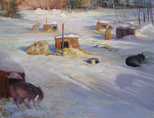 Sled Dogs at Menogyn,    16 x 20 oil on canvasboard I could've painted these dogs all week. I love the light in this scene, the shadows raking across the yard. And each dog and its tiny house had it's own character. They kept barking at me as if I had some food. Maybe they thought I was the food.