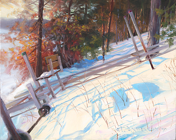 Dock Up the Slope  ,  18 x 24 oil on canvas My father-in-law uses a winch to haul his dock up onto the hill every autumn — an annual cabin ritual. I loved the shadow shape the dock created in the morning sun and the twigs poking up through the snow.