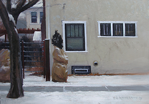 Wrapped Bush , 19 x 28 oil on linen That burlap robe's gotta be kinda itchy.