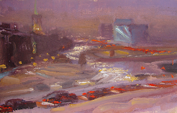 Impression, Rush Hour on Hennepin Avenue,    7 x 11 oil on panel The color at dusk of all the lights shining on the street and reflecting on the falling snow was very appealing. Not much form here, just light and movement.