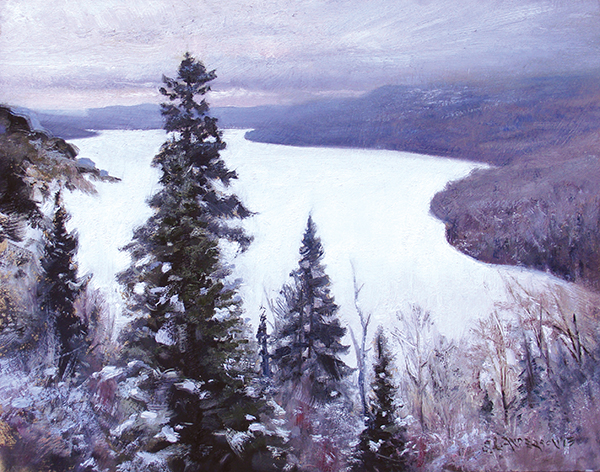 Rose Lake  , 16 x 20 oil on panel Painted during a Grand Marais Art Colony winter plein air event. A dozen or so artists gathered at Camp Menogyn on Bearskin Lake for a week of outdoor painting and camaraderie. On this gray day a few of us hiked to this overlook. What a shape the snowcovered lake made!