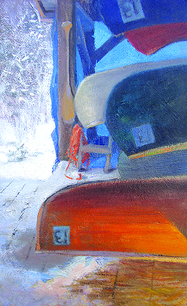 Hibernating Canoes,  12 x 20 oil on panel I lit the wooden canoe at the bottom to contrast with the cool light outside the shed. Gotta love the translucent light coming through that blue tarp. Yet another chapter in my ongoing infatuation with blue and orange.