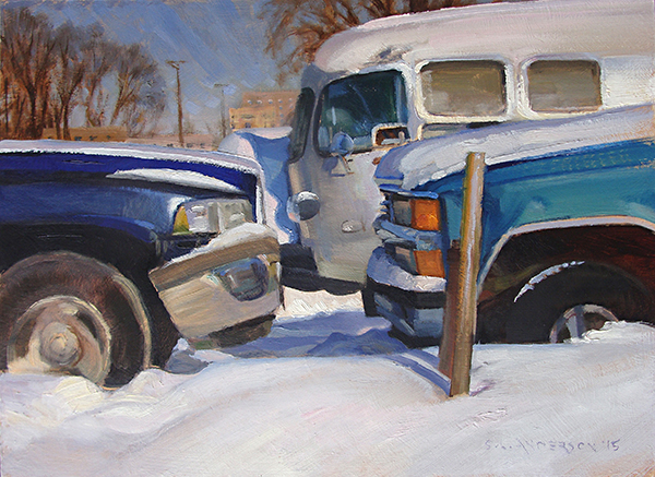 Face Off,    12 x 16 oil on panel The grills, bumpers and headlights of vehicles can be really expressive.
