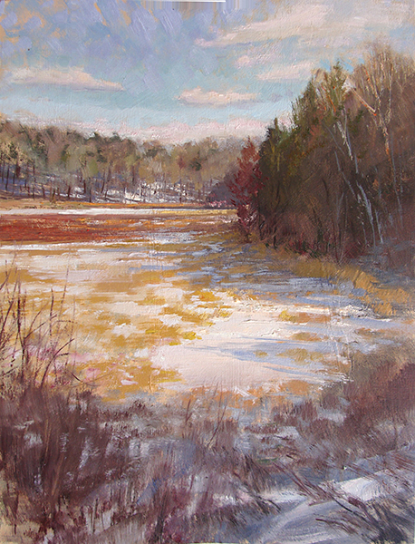 Sunny Winter Wetland,   16 x 12 oil on panel More winter fun with color.