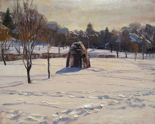 The Thicket, Lake Harriet Garden, Winter,  16 x 20 oil on panel Painted in March of 2017, this structure was part public art, part curious shelter for exploring. It's since been removed but I hope it found a fun home.