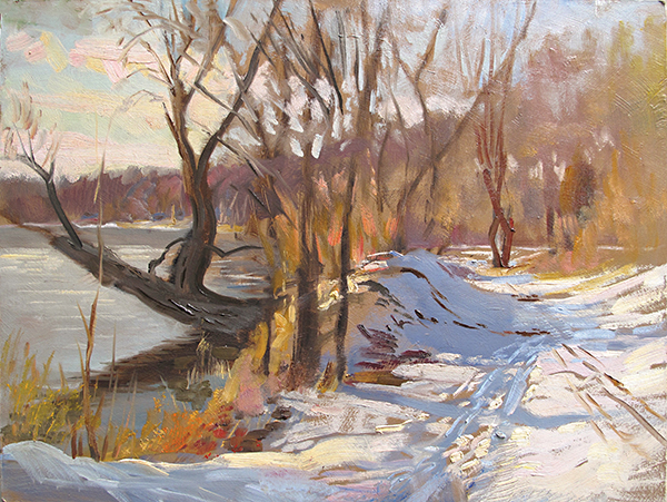 Ski Path, Lake Harriet,  12 x 16 oil on panel I had the privilege of painting with Stapleton Kearns a few years ago and I think his handling of tree branches blending into the sky rubbed off on me here.