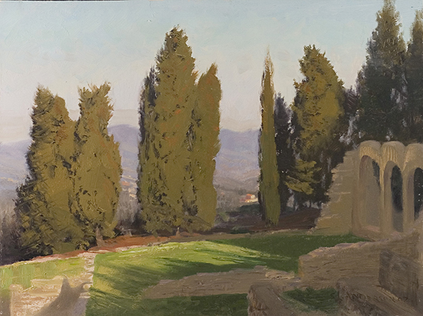 Cypress and Ruins, Fiesoli, Italy , 12 x 16 oil on panel In these Roman ruins, there were baths on the left, and a sports bar in the foreground.
