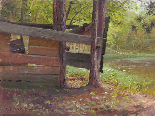 Fort in the Woods , 12 x 16 oil on panel The angles created by this fort's charmingly novice carpentry, and the spring greens showing through every negative space, all conspired to make me sit in the pine needles and get covered in ticks.