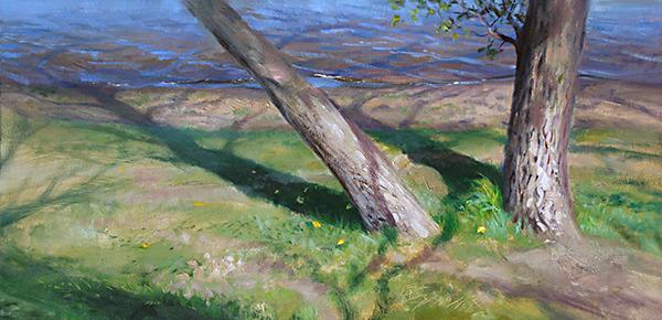 Shoreline Shadows , 30 x 15 oil on canvasboard