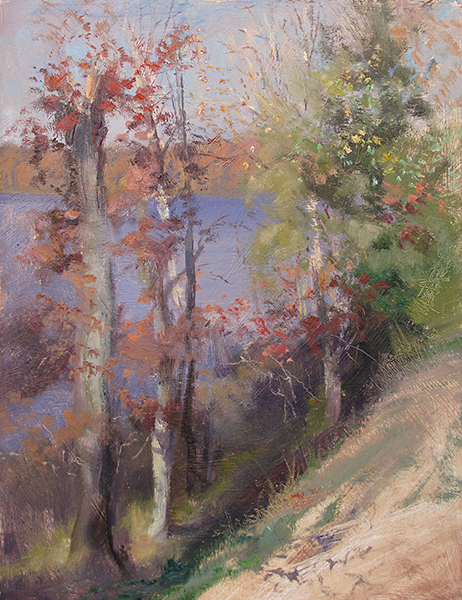 Sun Bleached Autumn , 12 x 16 oil on panel This is an example of direct light, where the sun is coming from behind the painter. It's an effect that makes me think of Russian landscape paintings. I found it appealing that after the sun rose that morning, the autumn colors became muted and washed out.